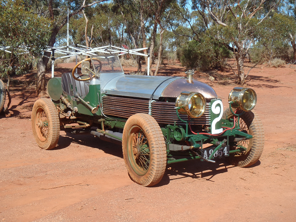 """Here's a photo of Peter Briggs' 1904 Napier L48. We're getting it ready for the big event (Lake Perkolilli 1914-2014 Centenary of Speed in Western Australia) in October. The additional photo shows the plates (and the dirt) on the Napier after running across the lake bed."" -- Graeme Cocks (Briggs Family Collection)"