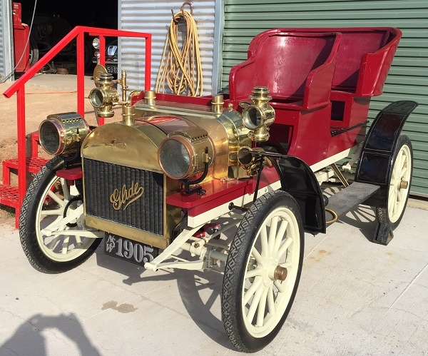 "1905 Glide 2 Cylinder.  One of only two known to exist.  190 cid and rated at 18hp, when completed it will ""glide"" down the road.  Produced by the J.B. Bartholomew Co; their slogan was ""As good as the Best and better than the Rest"" -- Russell & Christine Holden"