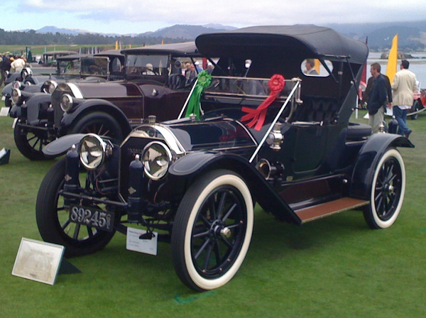 "1913 Pierce-Arrow 38-C Runabout at Pebble Beach Concours d'Elegance, 2010. ""The license plates you made for the car are a work of art. We want to thank you for the quick turnaround and the craftsmanship that you put into them. We're already planning our next set. They really look great on the car."" -- John Bertolotti"
