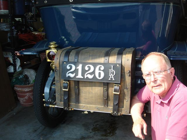 """We are most pleased with the leather plate on our 1911 Hudson. In Idaho, our state did not issue plates until 1913, so this is most appropriate and looks fantastic. We are very proud to have this on our car."" -- Ron & Rena Thurber"