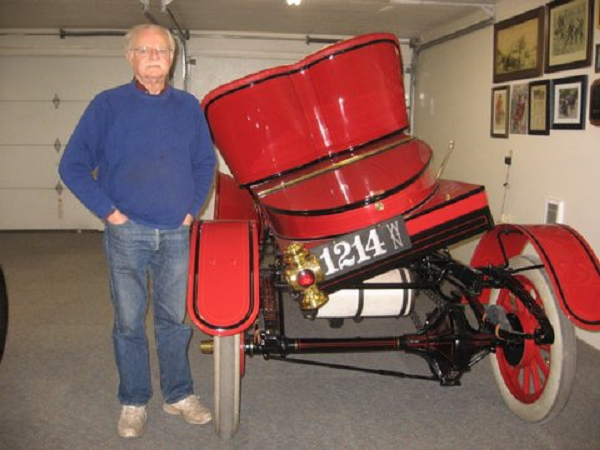 "The 1907 Rambler Model 22 was the only year that the body tilted from either side to gain access to the large (235ci with 5"" x 6"" bore & stroke) 2-cylinder engine and transmission. ""I am more than pleased to have a high quality license plate that is appropriate for this year vehicle. Thanks for researching the Washington license plate numbers, they are correct for 1907 and just happen to be my birthday month and day. The addition of this beautiful plate gives the car that finished look we desired"". -- ""Cap't Bob"" Strieter"