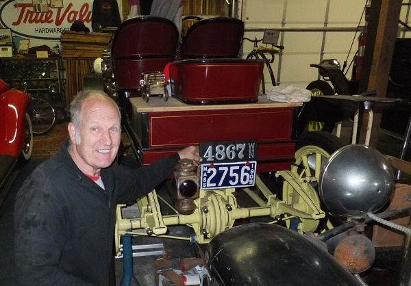 """1909 Stanley Steamer Model R Roadster. """"We're very pleased with our leather plate. Now that the Model R is nearly finished, it's time to license it for touring this summer. I'm really pleased with the 3"""" numbers, seems to suit the smaller cars very well."""" -- Pat & Merrily Farrell"""