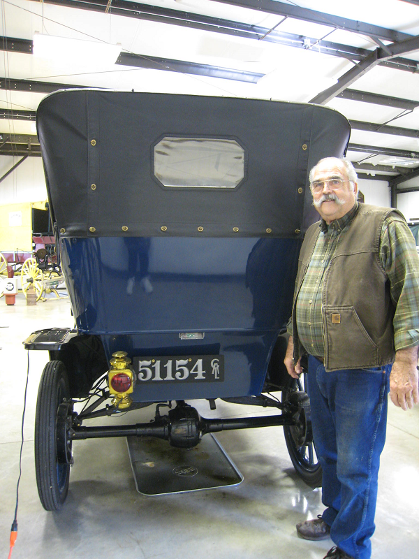 """Love the plate. The car is a 1911 Ford Model T Touring restored in the 1970's. We take it out on 4 or 5 tours each year. In 2012 we took it to Indiana for their 4 Day Covered Bridge Tour. It is currently on display/loan in the Angels Camp, CA Museum."" -- Bob Petithomme"