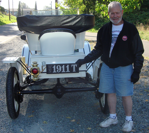 """Helen and I are very pleased with our ""new"" leather license plate. As you may have guessed, it's registered to our 1911 Ford Model T."" -- Steve & Helen Rex"